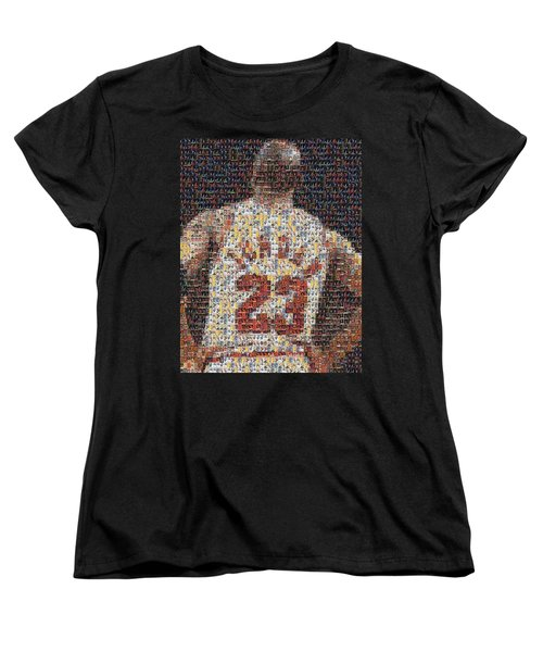 Michael Jordan Card Mosaic 2 Women's T-Shirt (Standard Cut) by Paul Van Scott