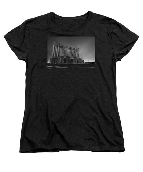 Michigan Central Station At Midnight Women's T-Shirt (Standard Cut) by Gordon Dean II