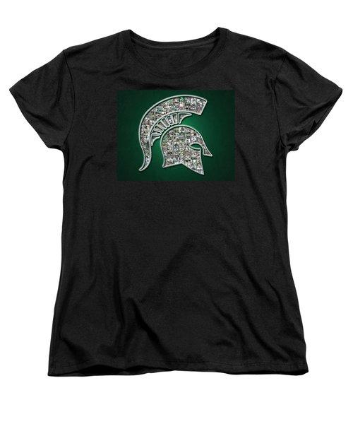 Michigan State Spartans Football Women's T-Shirt (Standard Cut) by Fairchild Art Studio