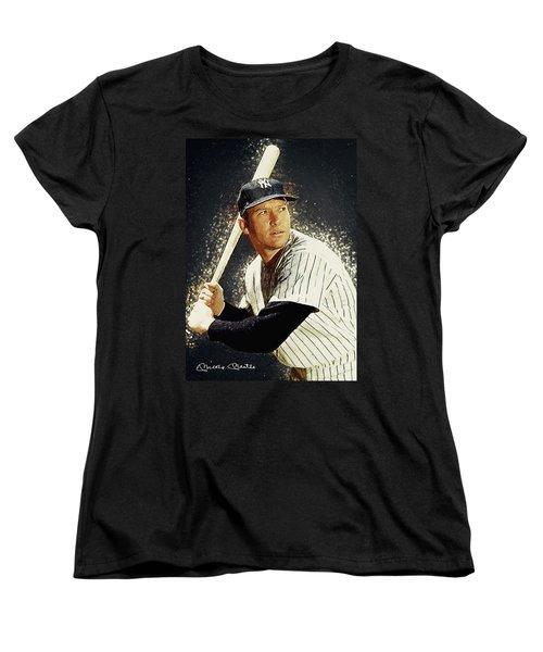 Mickey Mantle Women's T-Shirt (Standard Cut) by Taylan Apukovska