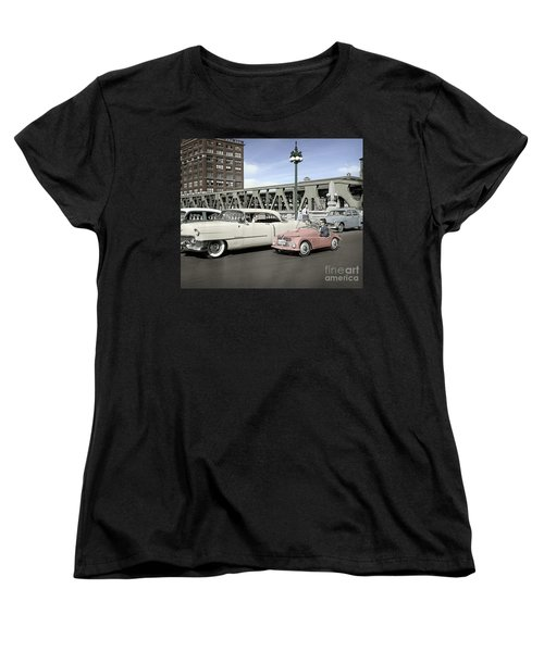 Women's T-Shirt (Standard Cut) featuring the photograph Micro Car And Cadillac by Martin Konopacki Restoration
