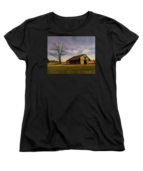 Women's T-Shirt (Standard Cut) featuring the photograph Midnight At The Mule Barn by George Randy Bass