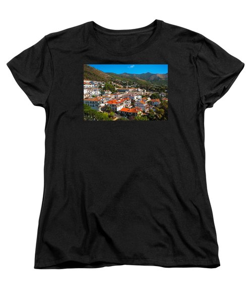 Women's T-Shirt (Standard Cut) featuring the photograph Mijas Village In Spain by Jenny Rainbow