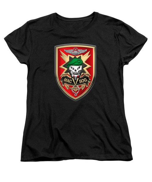 Military Assistance Command, Vietnam Studies And Observations Group Patch Over Black Velvet Women's T-Shirt (Standard Cut) by Serge Averbukh