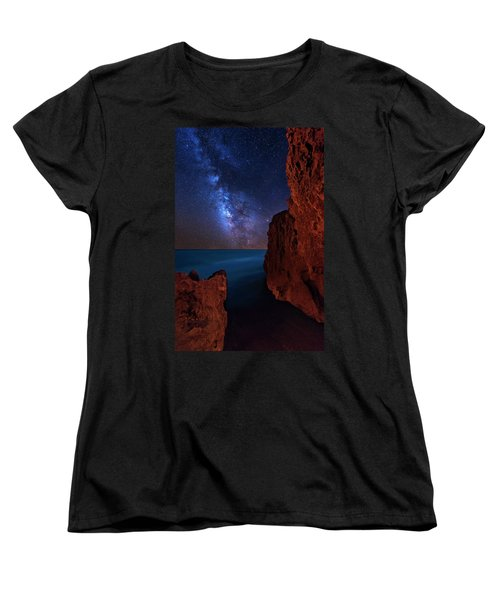 Milky Way Over Huchinson Island Beach Florida Women's T-Shirt (Standard Cut) by Justin Kelefas