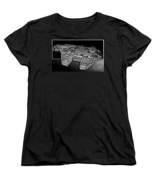 Millennium Falcon Attack Women's T-Shirt (Standard Cut) by Kevin Fortier