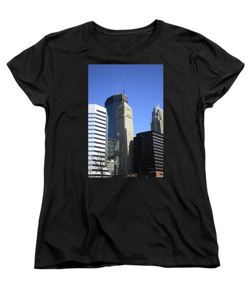 Women's T-Shirt (Standard Cut) featuring the photograph Minneapolis Skyscrapers 12 by Frank Romeo