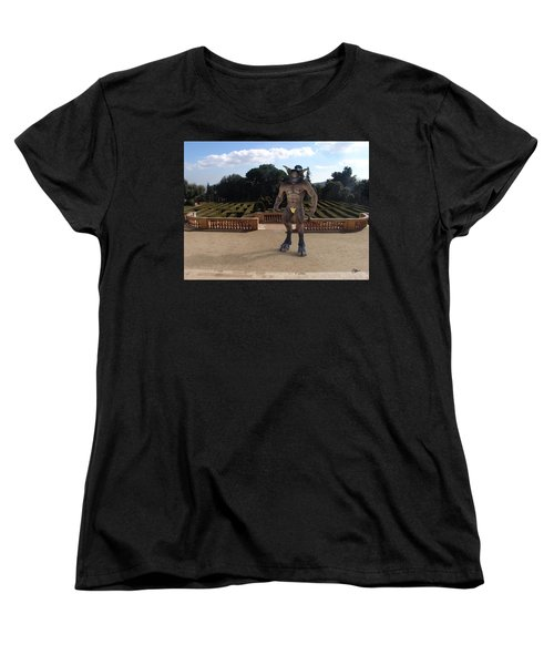 Minotaur In The Labyrinth Park Barcelona. Women's T-Shirt (Standard Cut) by Joaquin Abella