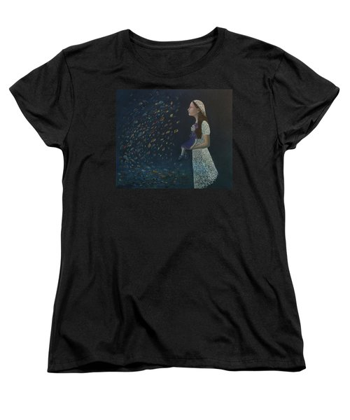 Women's T-Shirt (Standard Cut) featuring the painting Miss Frost Watching The Autumn Dance by Tone Aanderaa