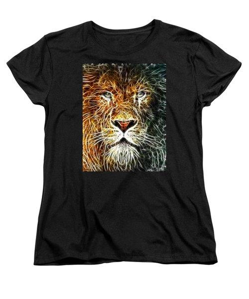 Women's T-Shirt (Standard Cut) featuring the mixed media Mistical Lion by Paul Van Scott