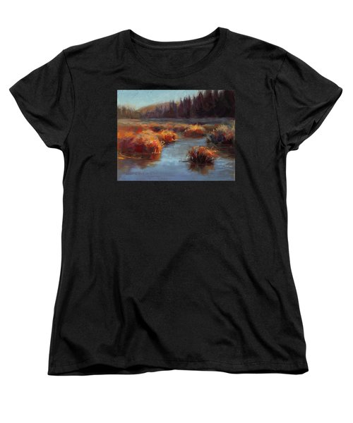 Women's T-Shirt (Standard Cut) featuring the painting Misty Autumn Meadow With Creek And Grass - Landscape Painting From Alaska by Karen Whitworth