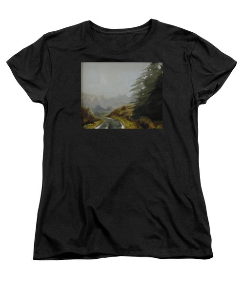 Women's T-Shirt (Standard Cut) featuring the painting Misty Morning, Benevenagh by Barry Williamson