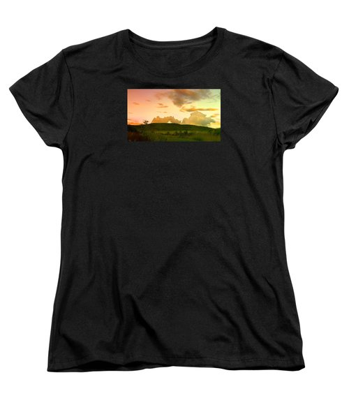 Women's T-Shirt (Standard Cut) featuring the photograph Misty Morning Sunrise by Mike Breau