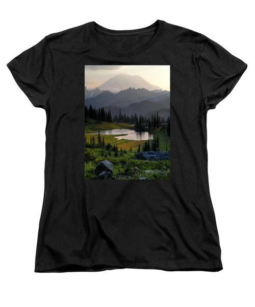 Women's T-Shirt (Standard Cut) featuring the photograph Misty Rainier At Sunset by Peter Mooyman