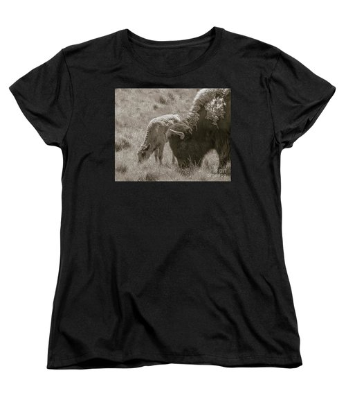 Women's T-Shirt (Standard Cut) featuring the photograph Mom And Baby Buffalo by Rebecca Margraf