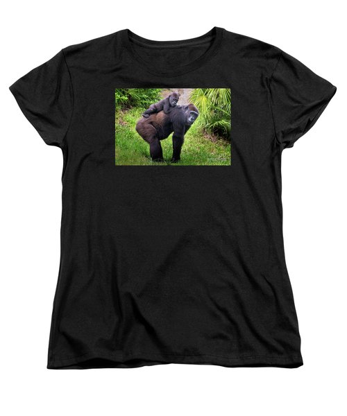 Mom And Baby Gorilla Women's T-Shirt (Standard Cut) by Stephanie Hayes