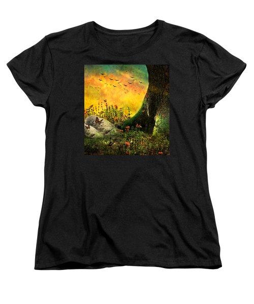 Monarch Meadow Women's T-Shirt (Standard Cut) by Ally  White