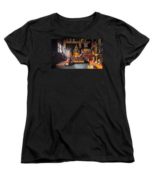 Kathmandu Monk Women's T-Shirt (Standard Cut) by Marty Garland