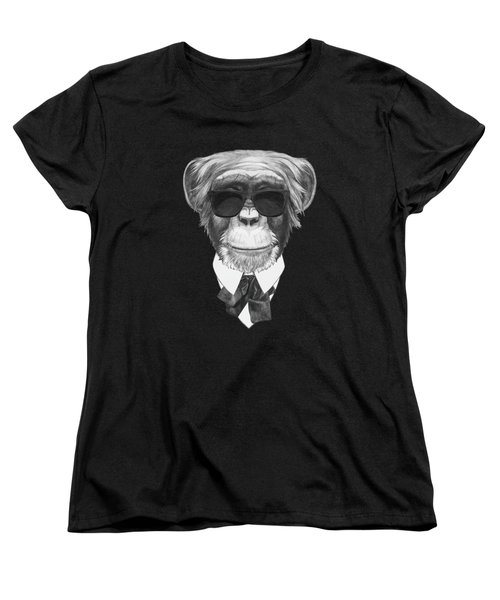 Monkey In Black Women's T-Shirt (Standard Cut) by Marco Sousa