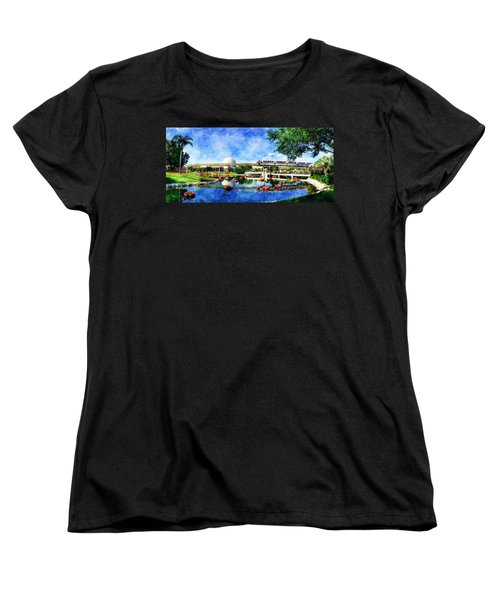 Women's T-Shirt (Standard Cut) featuring the digital art Monorail Red - Coming 'round The Bend by Sandy MacGowan