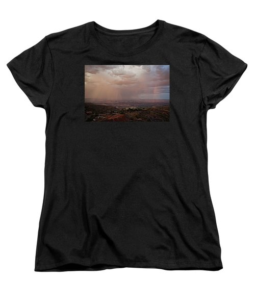 Women's T-Shirt (Standard Cut) featuring the photograph Monsoon Lightning And Rainbow by Ron Chilston