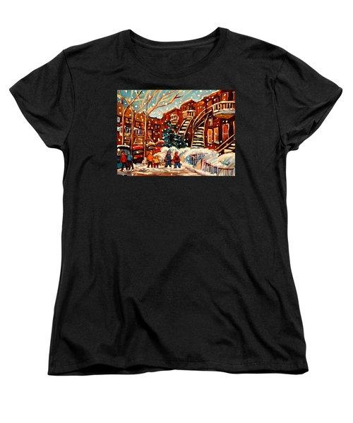 Montreal Street In Winter Women's T-Shirt (Standard Cut) by Carole Spandau