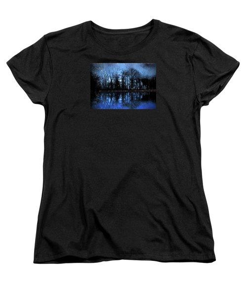 Moody Blue Daybreak Women's T-Shirt (Standard Cut) by Cedric Hampton