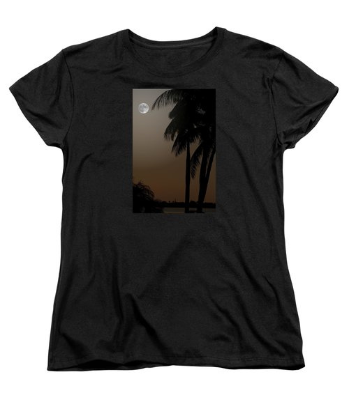 Moonlight And Palms Women's T-Shirt (Standard Cut) by Diane Merkle
