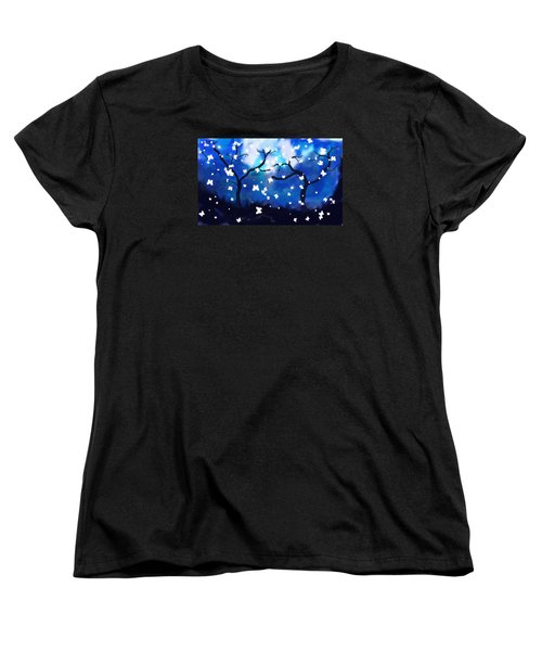 Women's T-Shirt (Standard Cut) featuring the painting Moonlight Butterflies by Patricia Arroyo