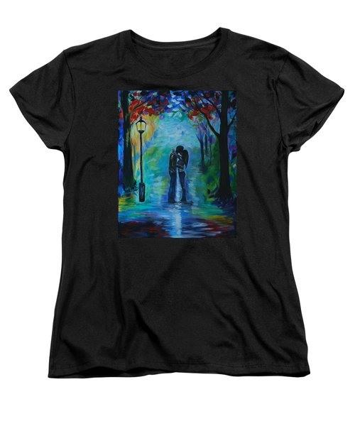 Women's T-Shirt (Standard Cut) featuring the painting Moonlight Kiss by Leslie Allen