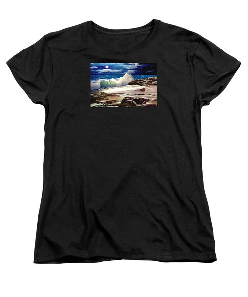 Moonlight On The Beach Women's T-Shirt (Standard Cut) by Ron Chambers
