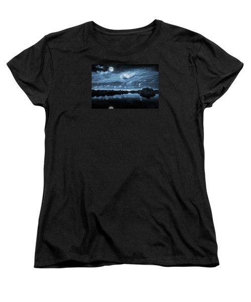 Moonlight Over A Lake Women's T-Shirt (Standard Cut) by Jaroslaw Grudzinski