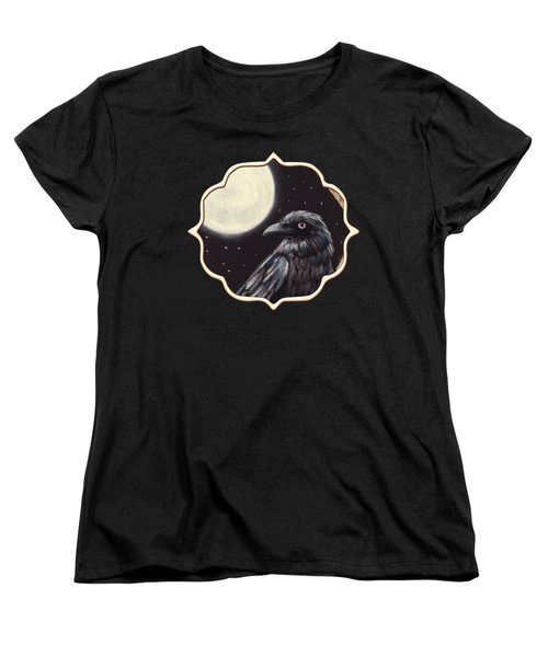Moonlight Raven Women's T-Shirt (Standard Cut) by Anastasiya Malakhova
