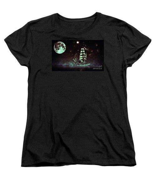 Moonlight Sailing Women's T-Shirt (Standard Cut) by Blair Stuart