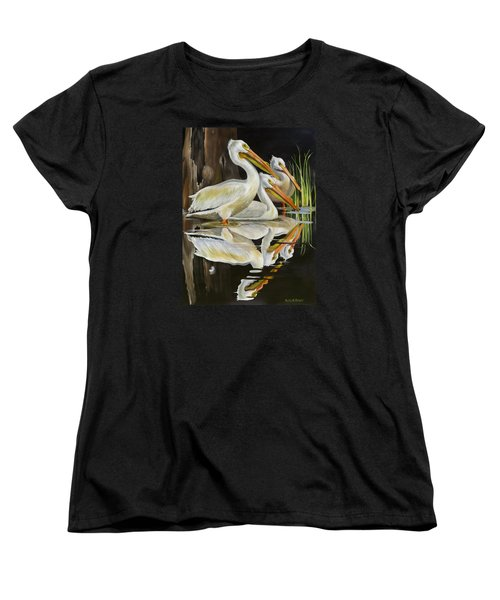 Women's T-Shirt (Standard Cut) featuring the painting Moonlight Serenade by Phyllis Beiser