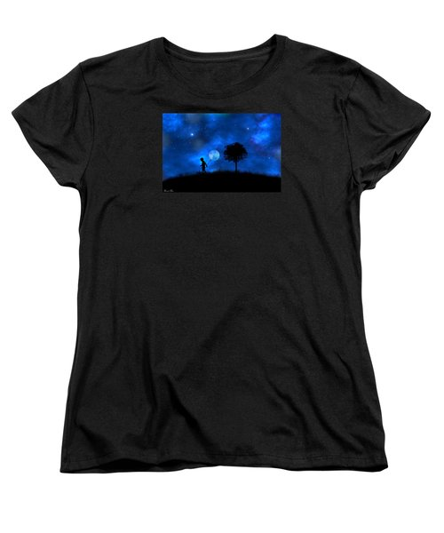 Women's T-Shirt (Standard Cut) featuring the digital art Moonlight Shadow by Bernd Hau