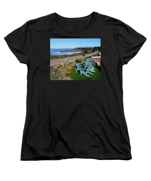 Women's T-Shirt (Standard Cut) featuring the photograph Moonstone Beach Seat With A View by Barbara Snyder