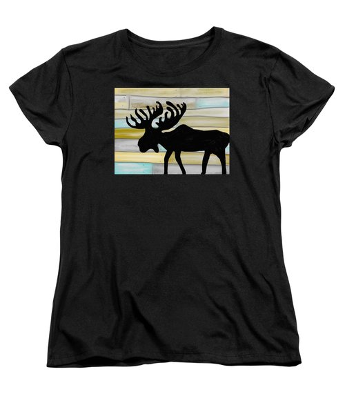 Women's T-Shirt (Standard Cut) featuring the digital art Moose by Paula Brown