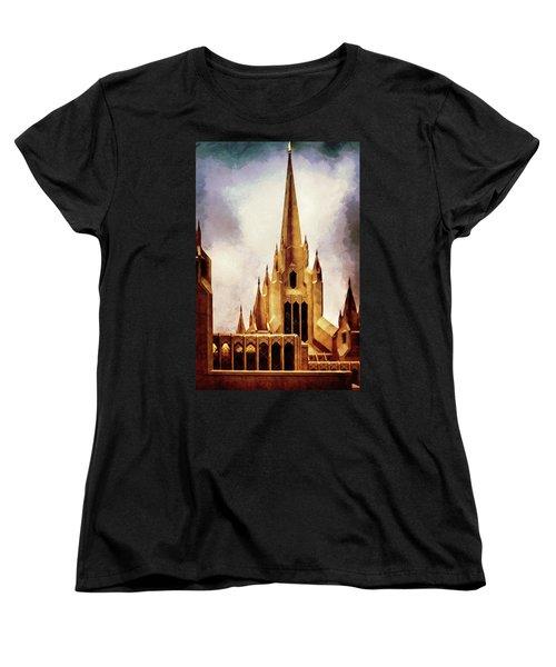 Mormon Temple Steeple Women's T-Shirt (Standard Cut) by Joseph Hollingsworth