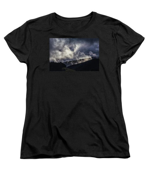 Morning Fog,mist And Cloud On The Moutain By The Sea In Californ Women's T-Shirt (Standard Cut)