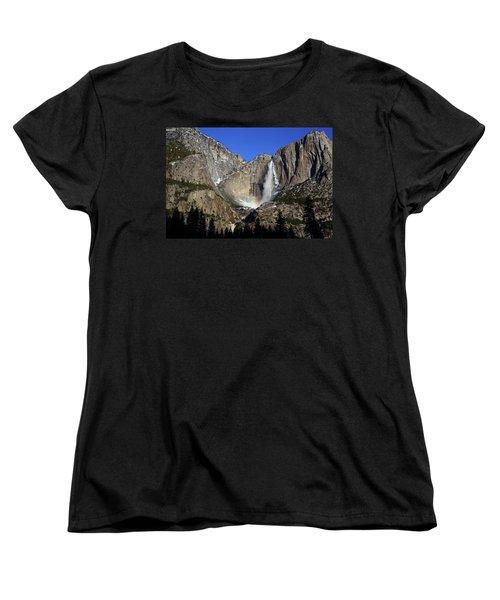 Women's T-Shirt (Standard Cut) featuring the photograph Morning Light On Upper Yosemite Falls In Winter by Jetson Nguyen