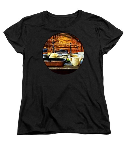 Mortar And Pestles In Colonial Kitchen Women's T-Shirt (Standard Cut) by Susan Savad