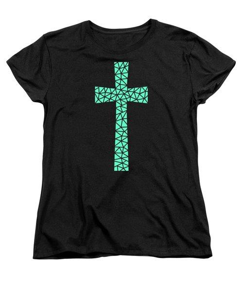 Mosaic Cross Aqua Women's T-Shirt (Standard Cut)