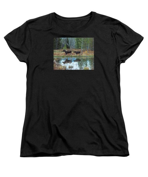 Mother And Baby Moose Reflection Women's T-Shirt (Standard Cut) by Rebecca Margraf