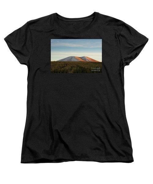Mount Gutanasar In Front Of Wheat Field At Sunset, Armenia Women's T-Shirt (Standard Cut) by Gurgen Bakhshetsyan