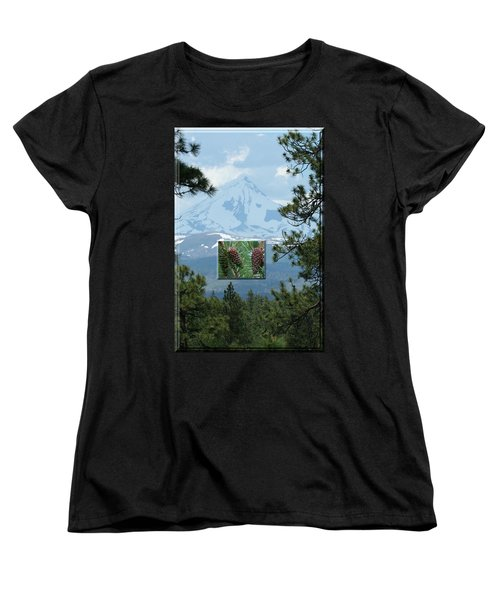 Mount Jefferson With Pines Women's T-Shirt (Standard Cut) by Laddie Halupa