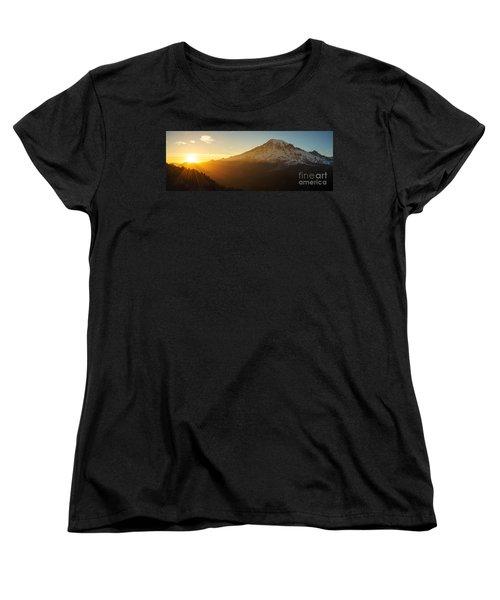 Mount Rainier Evening Light Rays Women's T-Shirt (Standard Cut) by Mike Reid