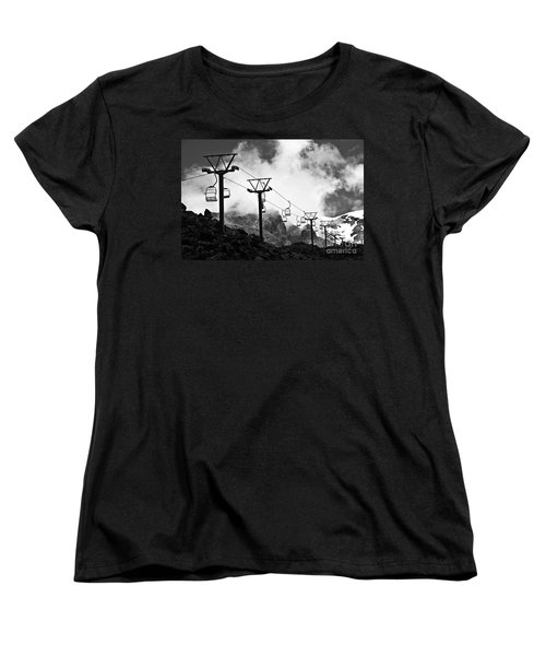 Women's T-Shirt (Standard Cut) featuring the photograph Mountain Cable Road Waiting For Snow by Yurix Sardinelly