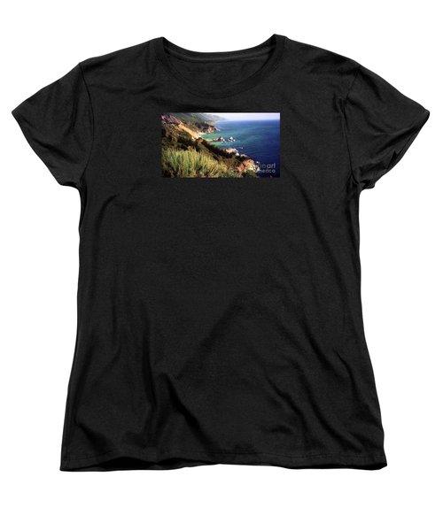 Mountain On Calif Pacific Ocean Women's T-Shirt (Standard Cut) by Ted Pollard