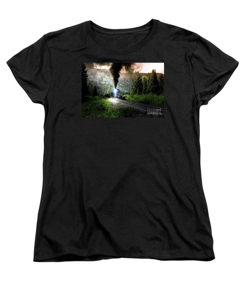 Women's T-Shirt (Standard Cut) featuring the photograph Mountain Railway - Morning Whistle by Robert Frederick